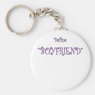La púrpura define el texto lindo del novio llavero redondo tipo pin