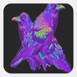 La púrpura del arco iris Ravens los regalos por Pegatina Cuadrada