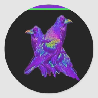 La púrpura del arco iris Ravens los regalos por Pegatina Redonda