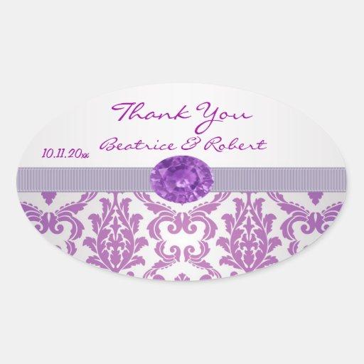 La púrpura del damasco, imagen de la piedra pegatina ovalada