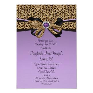 La púrpura del estampado leopardo #2 Jewels el Invitación 12,7 X 17,8 Cm