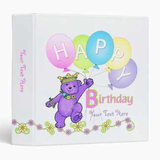 """La púrpura del feliz cumpleaños lleva e hincha 1,5 carpeta 1 1/2"""""""