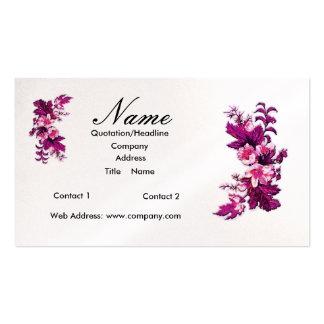 La púrpura del florista florece tarjetas de visita