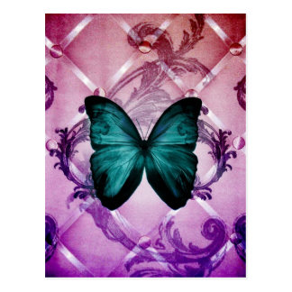 La púrpura del Flourish remolina mariposa bohemia Tarjeta Postal