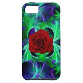 La púrpura del fractal geen y rosa rojo iPhone 5 Case-Mate funda