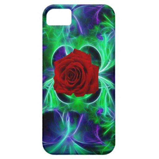 La púrpura del fractal geen y rosa rojo iPhone 5 carcasa