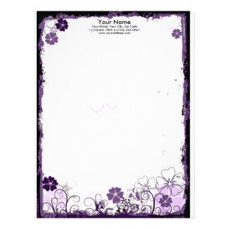 la púrpura del grunge florece el papel con membret membretes personalizados