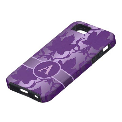 la púrpura del monograma deja el damasco iPhone 5 funda