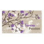 La púrpura del vintage florece el grunge floral de tarjeta de visita