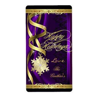 La púrpura dorada del copo de nieve soña la etiquetas de envío