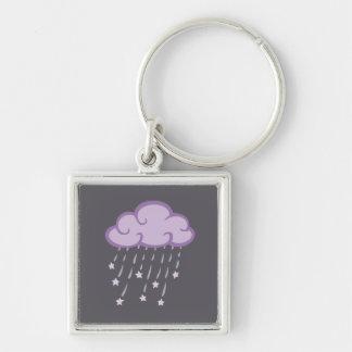 La púrpura encrespa la nube de lluvia con las llavero cuadrado plateado