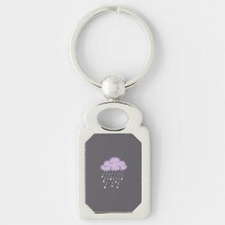 La púrpura encrespa la nube de lluvia con las llavero plateado rectangular
