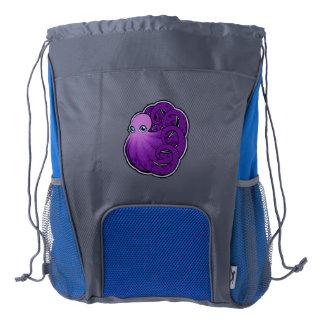 La púrpura encrespada manchó diseño del dibujo de mochila de cordón