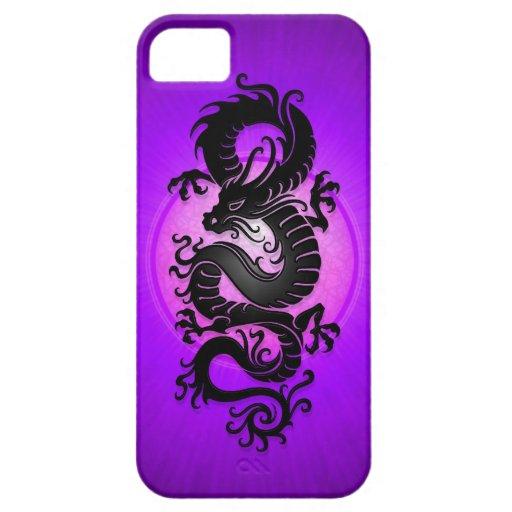 La púrpura estalló el dragón chino iPhone 5 Case-Mate protector