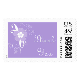 La púrpura floral moderna le agradece el franqueo