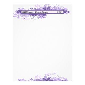 La púrpura florece el papel con membrete plantillas de membrete