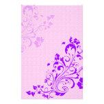 La púrpura florece el papel del libro de recuerdos papeleria