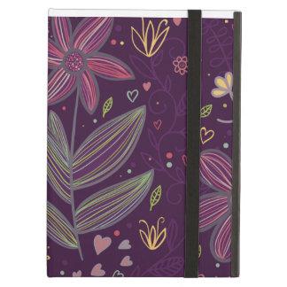 La púrpura florece la caja del iPad del iCase de P
