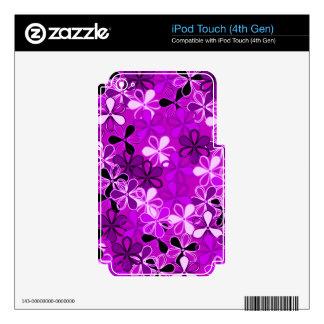 La púrpura florece la piel de Zazzle iPod Touch 4G Calcomanía