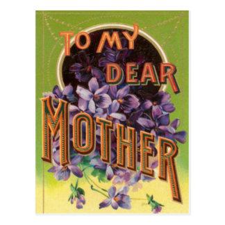 La púrpura florece la tarjeta del día de madre tarjetas postales