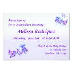 La púrpura florece Quinceanera Invitación 12,7 X 17,8 Cm
