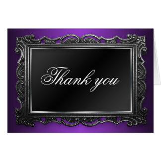 La púrpura gótica del marco le agradece las tarjeta pequeña
