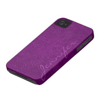 La púrpura grabó en relieve la mirada 2 del ante d Case-Mate iPhone 4 carcasa