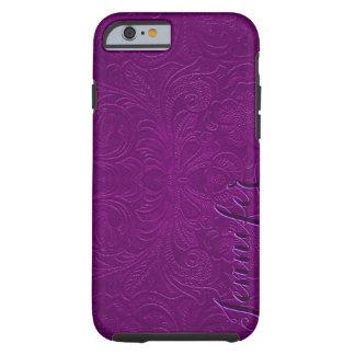 La púrpura grabó en relieve la mirada 2 del ante funda para iPhone 6 tough
