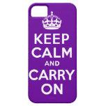 La púrpura guarda calma y continúa iPhone 5 fundas
