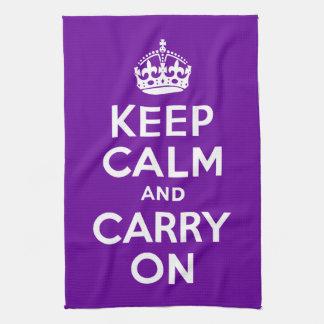 La púrpura guarda calma y continúa toallas de cocina