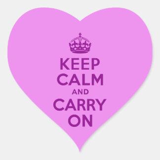 La púrpura guarda calma y continúa calcomanías de corazones personalizadas