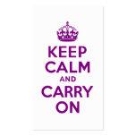 La púrpura guarda calma y continúa plantillas de tarjetas personales