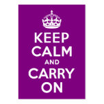 La púrpura guarda calma y continúa tarjetas de visita