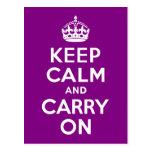 La púrpura guarda calma y continúa tarjeta postal