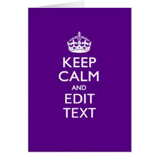La púrpura guarda calma y su texto fácilmente tarjeta