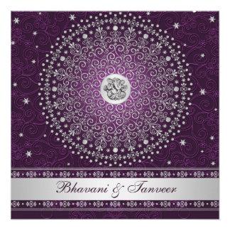 La púrpura hindú de Ganesh el casarse de plata de Comunicado Personal