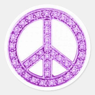 La púrpura Jewels el signo de la paz Pegatina Redonda