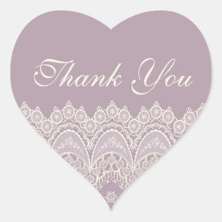 La púrpura le agradece los sellos del sobre del calcomanía de corazón personalizadas