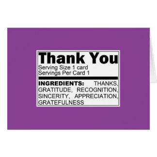 La púrpura le agradece tarjeta de los ingredientes