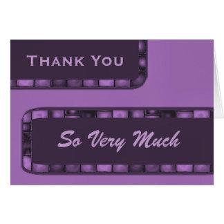 La púrpura le agradece tejar tarjeta de felicitación