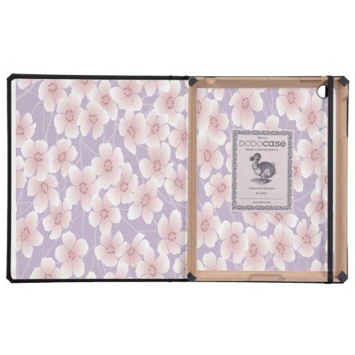 La púrpura linda florece la caja del iPad de DODOc iPad Protectores