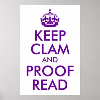 La púrpura mantiene la almeja y la prueba leídas póster