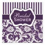 La púrpura, marfil, ducha nupcial del damasco invitaciones personalizada