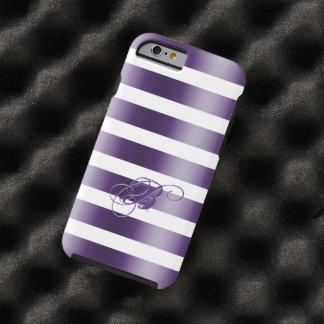 La púrpura metálica raya WhiteBackground Funda Para iPhone 6 Tough