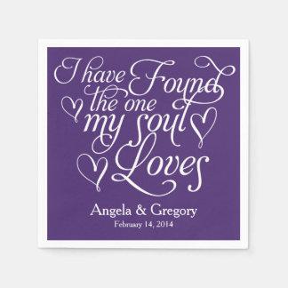 La púrpura mi alma ama el boda personalizado coraz servilleta desechable