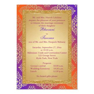 "La púrpura, naranja, FALSO boda del brillo del oro Invitación 5"" X 7"""