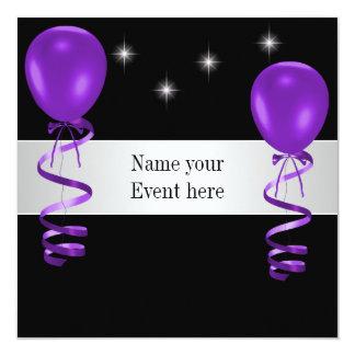 """La púrpura negra elegante hincha acontecimiento invitación 5.25"""" x 5.25"""""""
