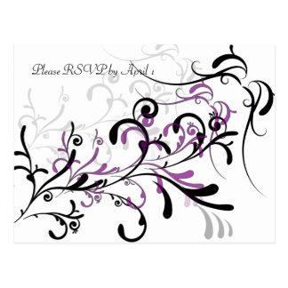 La púrpura negra remolina RSVP Postal