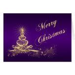 La púrpura, oro encendió la tarjeta de Navidad cor