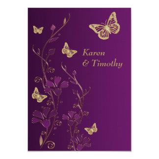 """La púrpura, oro floral, el casarse de las invitación 4.5"""" x 6.25"""""""